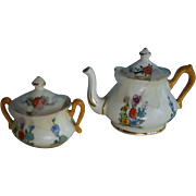 Miniature  Crown Staffordshire  Teapot and Sugar Bowl