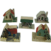 Five Snowed Cardboard houses for Christmas