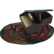 Doll House Miniature Piano and Silk Rug