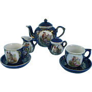 Miniature Cobalt Tea for Two Set for Fashion or Dolly