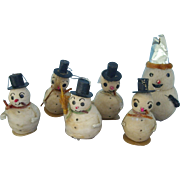 Six Cotton Snowmen
