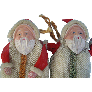 Two Candy Container with Santa Faces