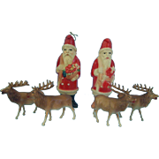 Two Irwin Celluloid Santas and Four Deer