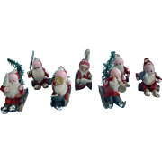 3.75 Inch French Cotton Santas/ Eight pieces