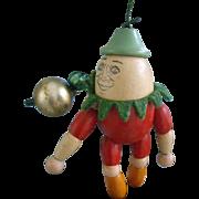 Jaymar 4.25 Inch Jointed Wood Humpty Dumpty  Doll  Ornament