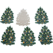 6 Embossed Die Cut Christmas Trees