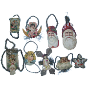 9 Embossed Litho Scrap Tinsel Ornaments