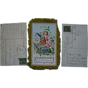 3 Christmas Embossed Antique Postcards