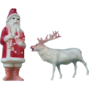 3.75 Inch Celluloid Santa and Reindeer