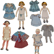 4 Vintage Paper Dolls with Clothing