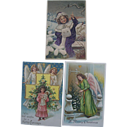 3 Antique German Embossed Christmas Postcards