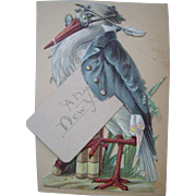 Embossed Dressed Stork Holding 'A Happy New Year Card'
