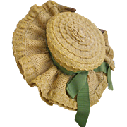Woven Straw Fabric and Lace Hat
