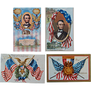 Patriotic  Embossed  Tuck and Abe Lincoln Postcards