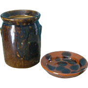 Miniature Pottery Crock and Plate