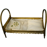 Gold Metal Miniature 4'' Doll House Bed