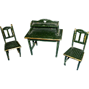 Miniature Painted Desk and Two Chairs