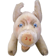 10'' Vintage Wool German Steiff  Pig