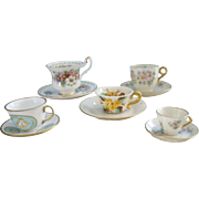 5 Miniature China  Cups and Saucers