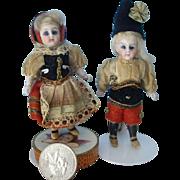 Tiny Antique Pair of All Bisque All Original  Dolls