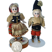 Tiny Antique Pair of All Bisque All Original  Dolls