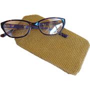 Vintage U.S. Zone Germany Gold Tone Metal Mesh Glasses Case