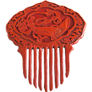Rare Vintage Chinese Cinnabar Hair Comb