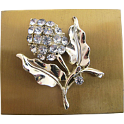 Vintage Compact with Rhinestone Flower