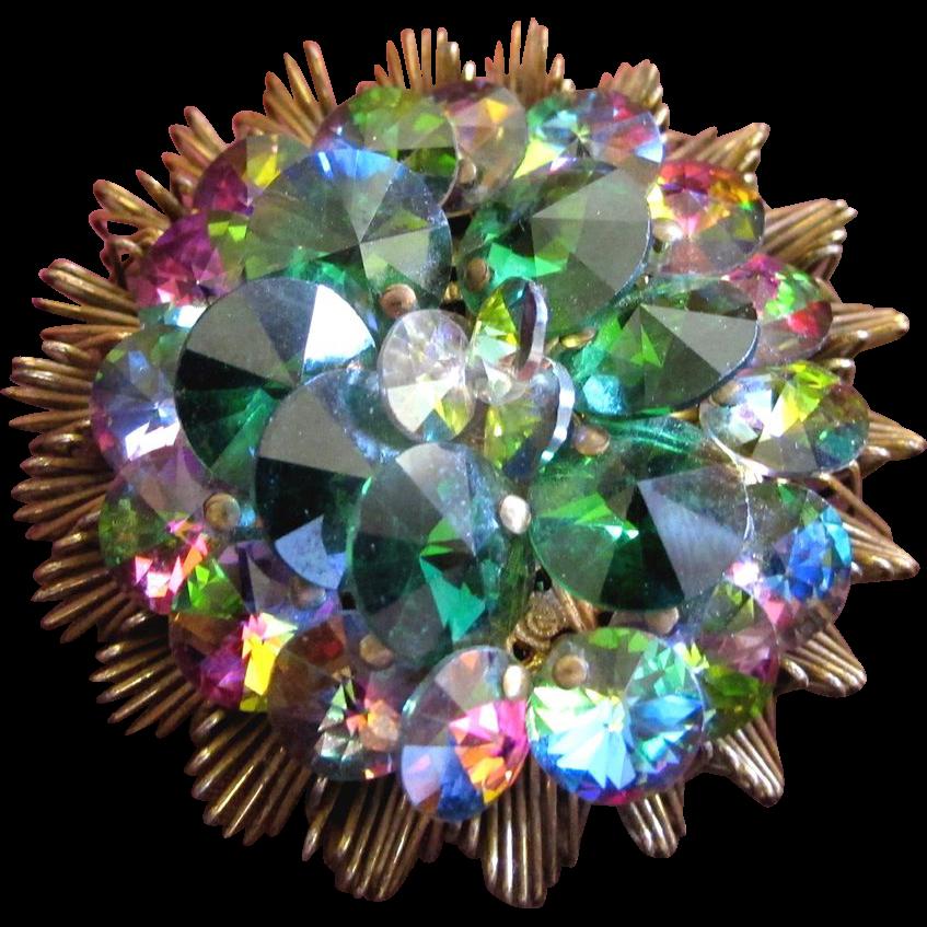 Alice Caviness Green Rivoli Crystal Brooch