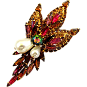 Alice Caviness Rhinestone Flower Spray Brooch