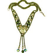 Alice Caviness Olivine Rhinestone and Dangle Necklace