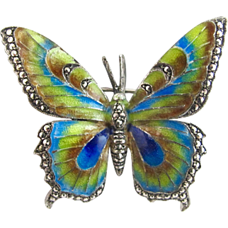Vintage Germany Sterling Marcasite Enamel Butterfly Pin