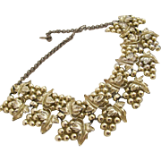 Vintage Alice Caviness Gold Tone Grape Vine Bib Choker Necklace