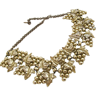 Vintage Alice Caviness Gold Tone Grape Vine Bib Choker Necklace