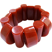 Bakelite Geometric Brick Red Stretch Bracelet