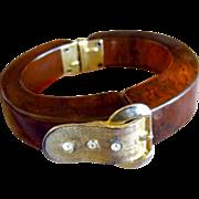 Tortoise Bakelite Buckle Clamper Bracelet