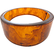 Tortoise Color Asymmetrical Bakelite Bangle Bracelet