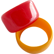 Vintage Wide Bakelite Bangle Duo in Red and Gold