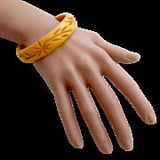 Vintage Bakelite Mustard Deeply Carved Bangle Bracelet