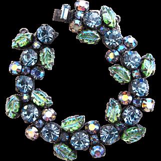 Vintage Regency Blue Green Art Glass Bracelet