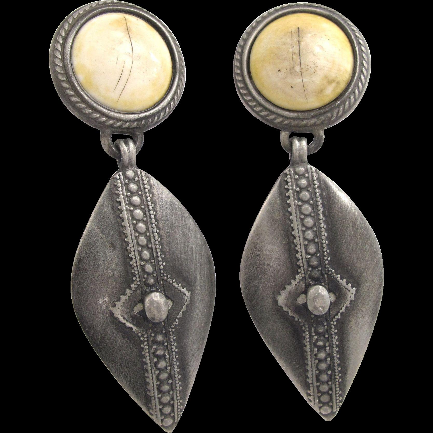 Vintage Ben Amun Southwest Silver Tone Drop Earrings 2hearts Jewelry Accessories Ruby Lane