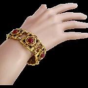 Vintage Ben-Amun Gold Plated Rust Cabochon Link Bracelet