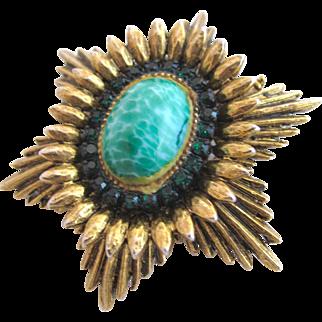 Vintage Benedikt NY Faux Green Stone Pin Pendant