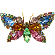 Vintage Pastel Rhinestone Butterfly Pin