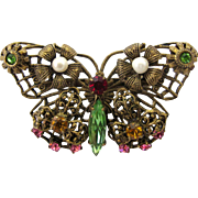 Vintage Brass Filigree Butterfly Pin