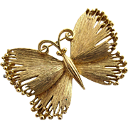 Vintage Solid Gold Tone Butterfly Brooch