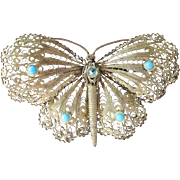Vintage Silver Tone Filigree Large Butterfly PIn