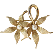 Vintage Boucher Double Flower Pin 7356