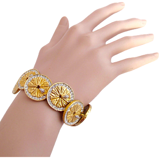 Vintage Boucher Orange Citrus Slice Bracelet #9796 B - Rare