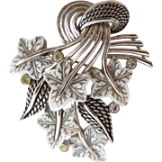 Vintage BOUCHER White and Gray Lucite Leaves Pin / Brooch